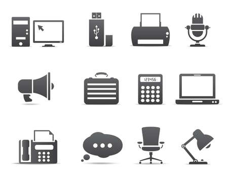 pc: Office and business icons Illustration