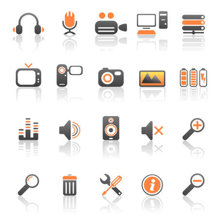mic: Media en computer iconen Stock Illustratie