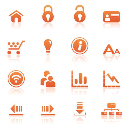 Web icons orange Stock Vector - 12885166