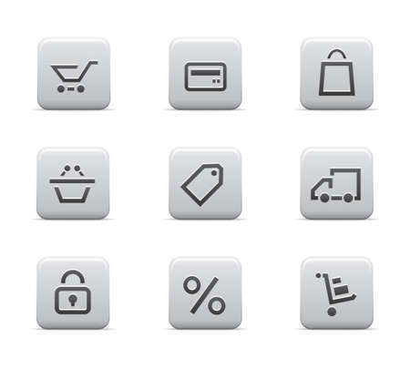 commercial activity: Shopping icons matte set