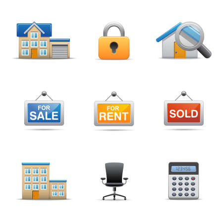 Real estate icons Stock Vector - 12885234
