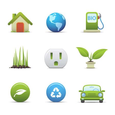 green land: Eco icons set Illustration