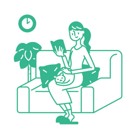 Let's spend time at home while reading books Çizim