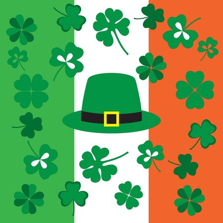 patric background: Picture from symbols of the St. Patricks Day on the background of the Irish flag colors Illustration