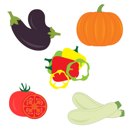 marrow: Set of different vegetables on a white background