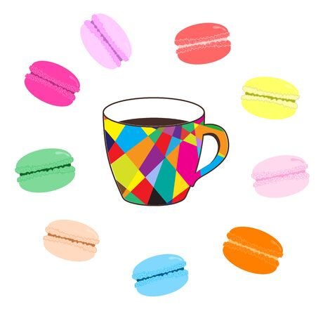 france painted: Mosaic cup of coffee with colored macaroons on white background Illustration