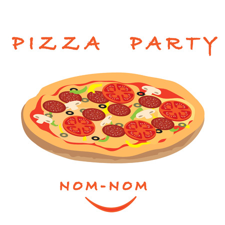appetizing: Picture with appetizing pizza with inscriptions pizza party Illustration