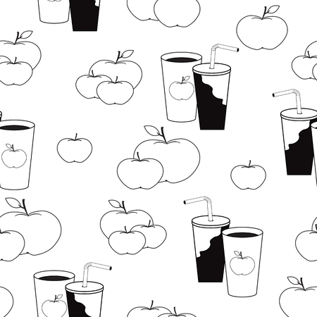 appetite: Nice pattern with apples and cups of juice in black and white colors Illustration