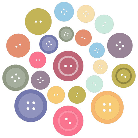 laid: Cute picture with colored buttons laid out in a circle Illustration