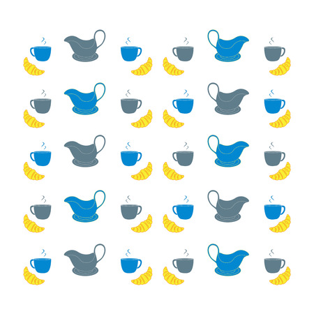 gravy: Nice picture with colorful cups, saucers, gravy boats and croissants Illustration