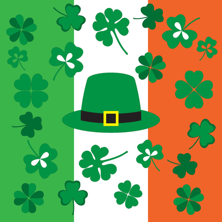 patric: Picture from symbols of the St. Patricks Day on the background of the Irish flag colors Illustration