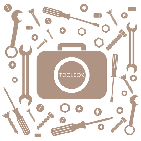unscrew: Nice picture of a colored bag with a variety of tools for quick repairs on a white background