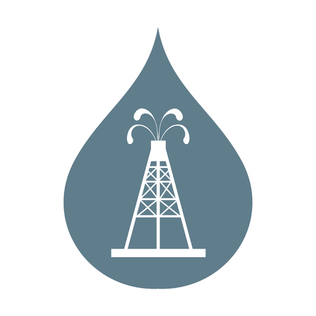 fountains: Stylized icon of the oil rig with fountains spurting up oil with oil in the color of fuel drop on a white background