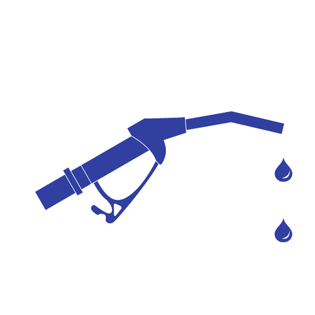 filling station: Stylized icon of the fuel gun with the fuel drops on a white background