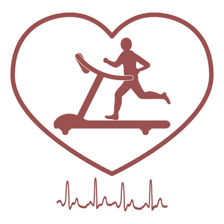 exercise machine: Stylized icon of the man jogging on a treadmill within the heart icon and heart rhythm on a white background Illustration