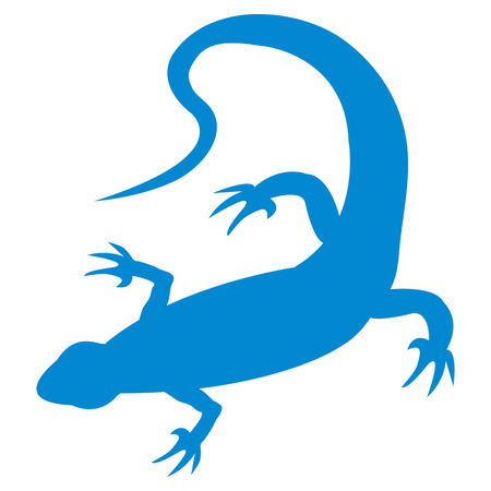 reptilian: Stylized icon of a colored lizard on a white background