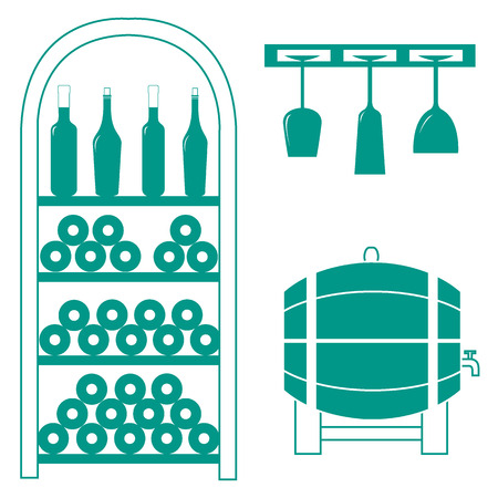 wood creeper: Stylized icon of a colored wine rack, bottles of wine, wine glasses and barrel of wine on a white background Illustration