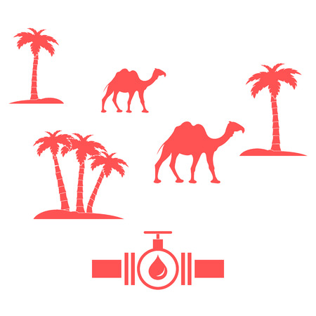 palm oil: Stylized icon of the pipe with a valve and fuel drops on a white background with palm trees and camels