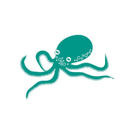 Stylized icon of a colored octopus on a white background