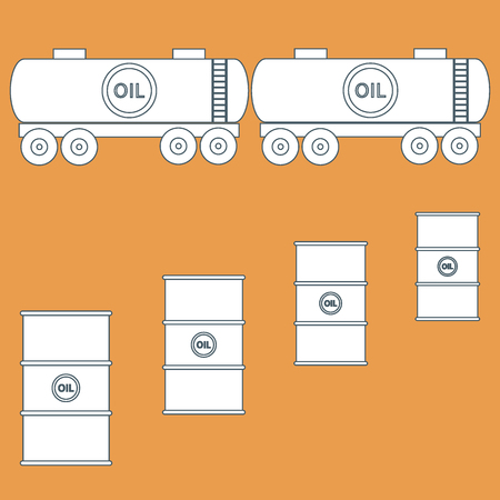 natural gas prices: Stylized icon of the tanks and barrels with oil on a colored background Illustration