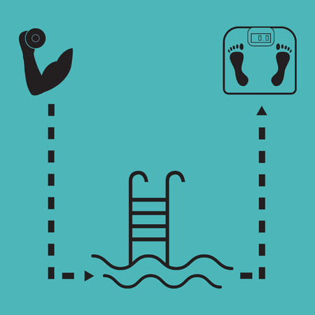 hand with dumbbells: Nice picture of the sport lifestyle: hand with dumbbells, barbells, swimming pool and scales on a color background