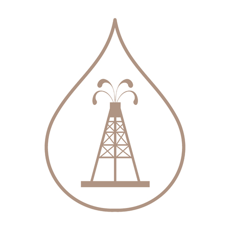Stylized icon of the silhouette oil rig with fountains spurting up oil with oil in the fuel drop on a white background
