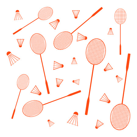 shuttlecock: Nice picture of colorful badminton rackets and shuttlecocks on a white background