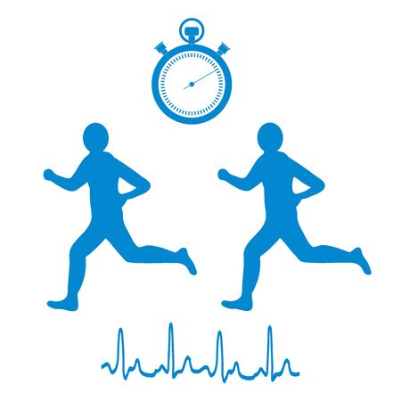 Stylized icon of the two runners with a stopwatch and heart rhythm on a white background