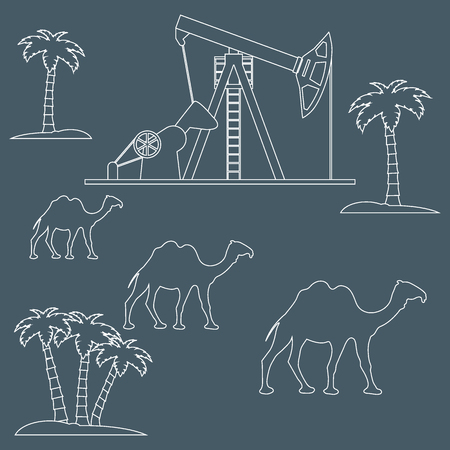 exploration: Stylized icon of the equipment for oil production on a color background with palm trees and camels Illustration