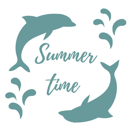 dolphin silhouette: Nice picture with two colored dolphins with splashes and inscription Summer time on white background Illustration