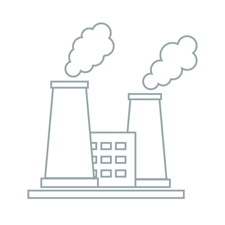 refinery: Stylized icon of the oil refinery plant with smoking chimneys on a white background