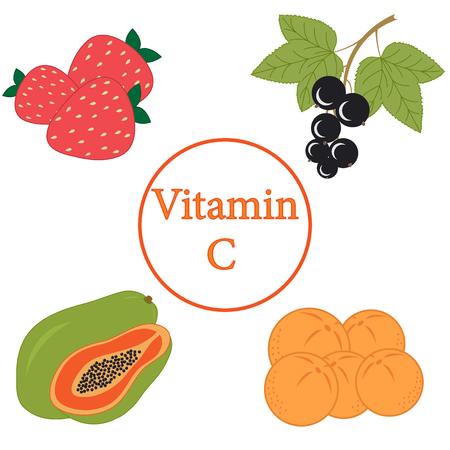 vivacity: Colorful set of products which contain the most vitamin C on a white background