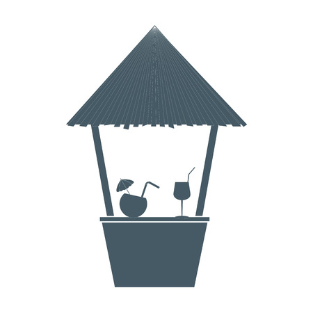 Stylized icon of the bar on the beach with cocktails