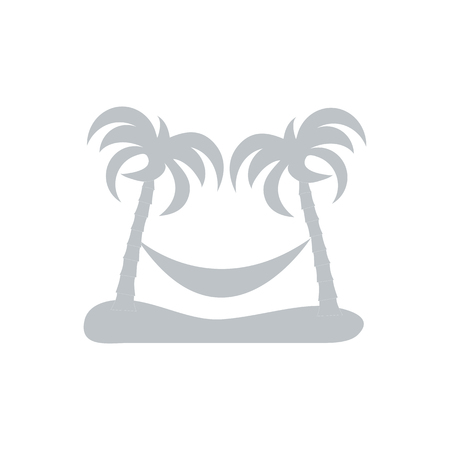 hammock: Stylized icon of rest in a hammock under two palm trees