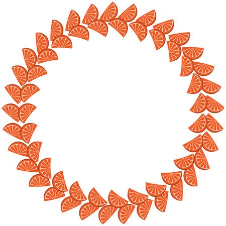 orange slices: Cute frame made of orange slices arranged in circle on white background