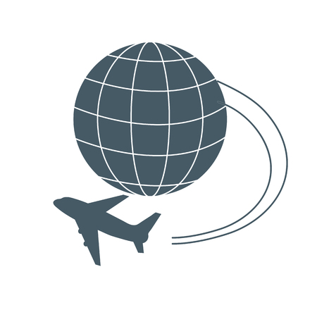 meridians: Stylized icon of flights to any point of the earth