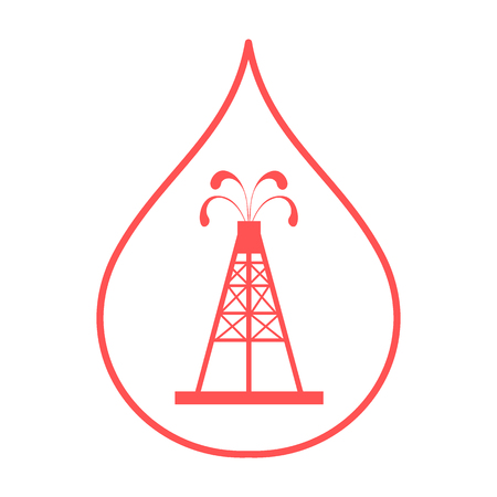 fountains: Stylized icon of the silhouette oil rig with fountains spurting up oil with oil in the fuel drop on a white background