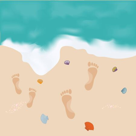 shore: Nice picture of the sea and the shore with footprints upon the sand and shells