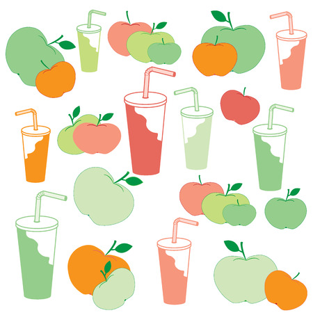 Nice picture of apples and apple juice rich in vitamin C on a white background Illustration