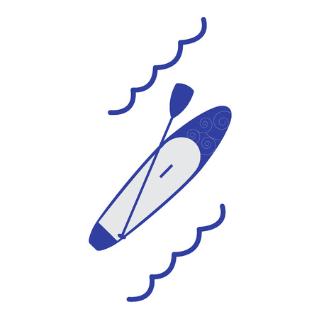 boarding: Stylized icon of a colored stand up paddling on a white background
