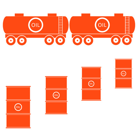 natural gas prices: Stylized icon of the tanks and barrels with oil on a white background Illustration