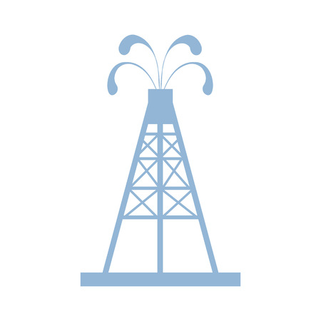 Stylized icon of the oil rig with fountains spurting up oil with oil on a white background