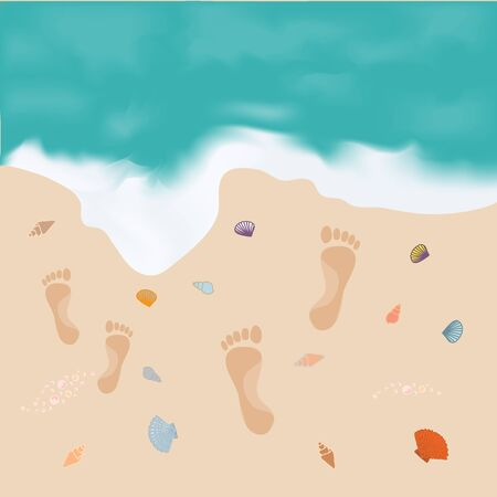 footprint sand: Nice picture of the sea and the shore with footprints upon the sand and shells