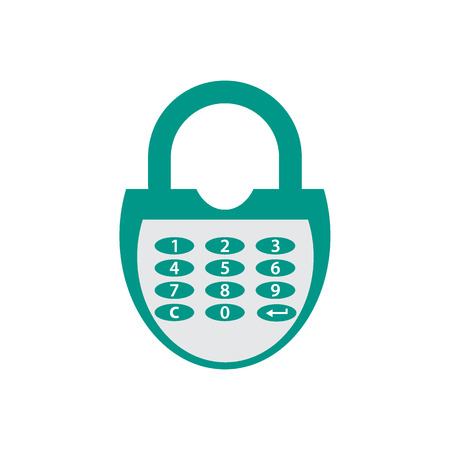 combination lock: Stylized icon of a colored combination lock on a white background