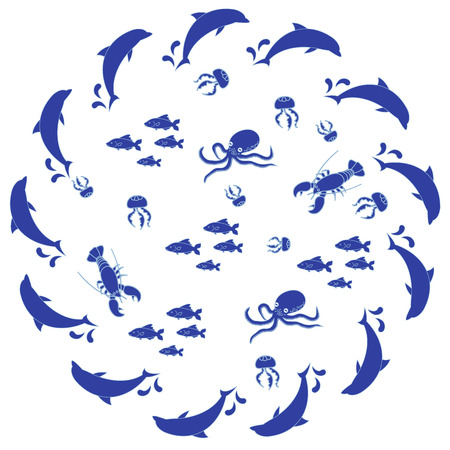seas: Interesting picture with the various inhabitants of the seas and oceans on white background