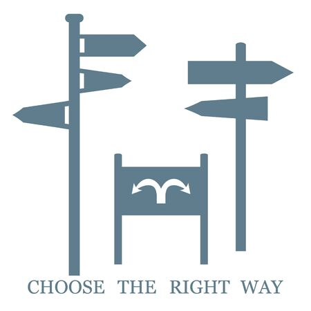 right of way: Set of colored stylized icons road signs and an inscription: Choose the right way on a white background