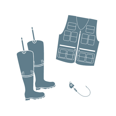 wellies: Stylized icon set of a colored vest, boots and hook on a white background Illustration