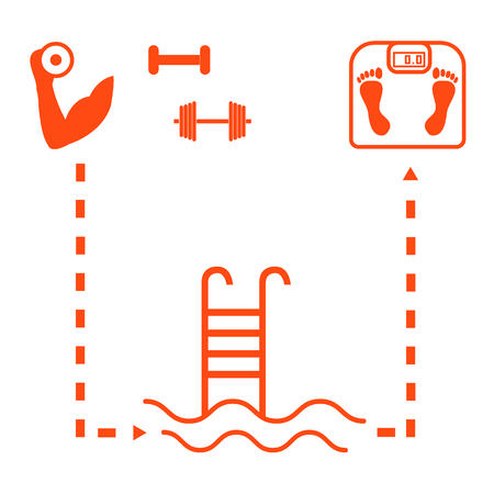 hand with dumbbells: Nice picture of the sport lifestyle: hand with dumbbells, barbells, swimming pool and scales on a white background
