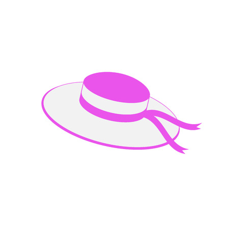 Nice picture with fashion summer hat on a white background