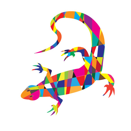 reptilian: Bright colorful picture with the mosaic lizard isolated on white background